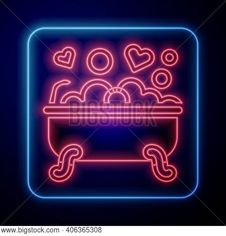 Glowing Neon Romantic In Bathroom Icon Isolated On Blue Background. Concept Romantic Date. Romantic