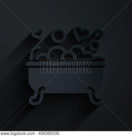 Paper Cut Romantic In Bathroom Icon Isolated On Black Background. Concept Romantic Date. Romantic Ba