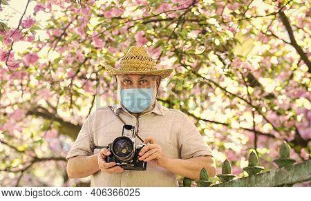 Sakura In Full Bloom Photography. Senior Bearded Man In Respirator Mask. Professional Photographer W