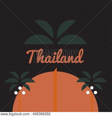 Summer. Thailand Travel Illustration, Vectors, T-shirt Graphics Thailand Apparel T Shirt Fashion Des