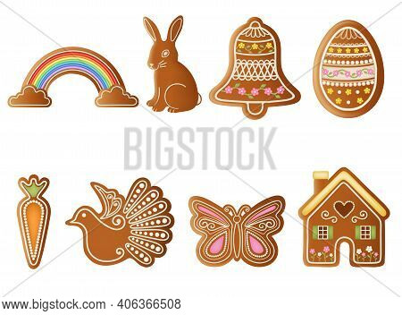 Set Of Isolated Easter Gingerbread Cookies Vector