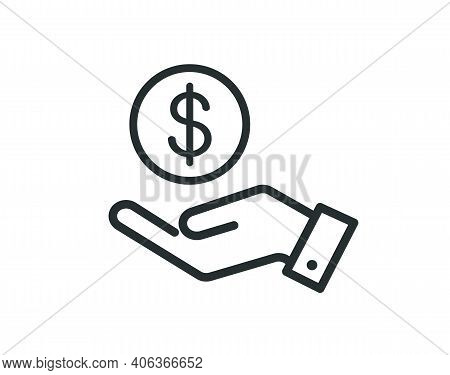 Dollar In Hand Icon. Save Money Icon Icon Isolated On White Background. Vector Illustration.