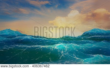 3d Render Evening Seascape Rough Sea Or Ocean Waves Foam Golden Cumulus Clouds