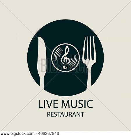 Vector Menu Or Banner For Live Music Restaurant Decorated With Treble Clef, Cutlery And Old Vinyl Re