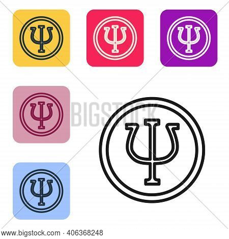 Black Line Psychology Icon Isolated On White Background. Psi Symbol. Mental Health Concept, Psychoan