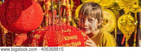 Banner, Long Format Caucasian Tourist Boy In Tet Holidays. Vietnam Chinese Lunar New Year In Springt