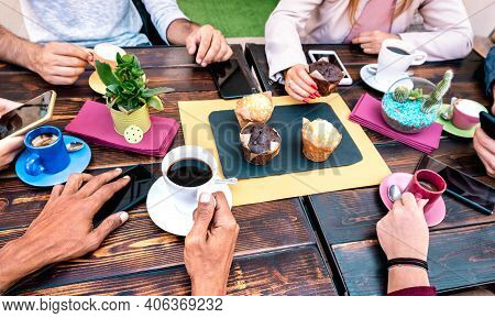 Top Angle View Of People With Phones At Coffee Shop Restaurant - Friends Having Breakfast With Muffi