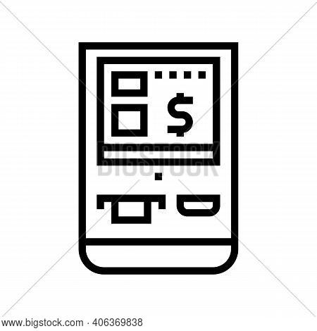 Multifunctional Pos Terminal Line Icon Vector. Multifunctional Pos Terminal Sign. Isolated Contour S