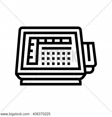 Self Service Pos Terminal Line Icon Vector. Self Service Pos Terminal Sign. Isolated Contour Symbol