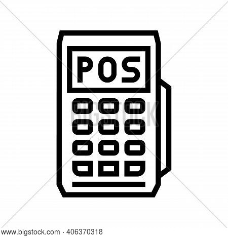 Mobile Pos Terminal Line Icon Vector. Mobile Pos Terminal Sign. Isolated Contour Symbol Black Illust