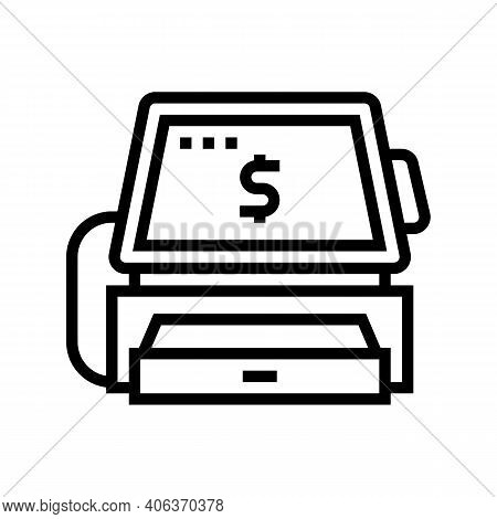 Cashier Counter With Pos Terminal Line Icon Vector. Cashier Counter With Pos Terminal Sign. Isolated