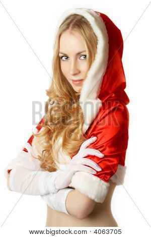 Portrait Of Beautiful Sexy Girl Wearing Like Santa Claus