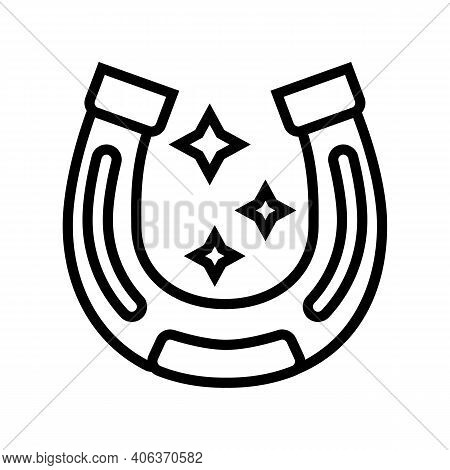 Lucky Horseshoe Lotto Line Icon Vector. Lucky Horseshoe Lotto Sign. Isolated Contour Symbol Black Il