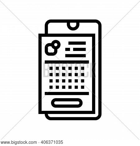 Phone Application Lotto Line Icon Vector. Phone Application Lotto Sign. Isolated Contour Symbol Blac