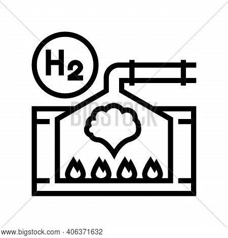 Processing Hydrogen Line Icon Vector. Processing Hydrogen Sign. Isolated Contour Symbol Black Illust