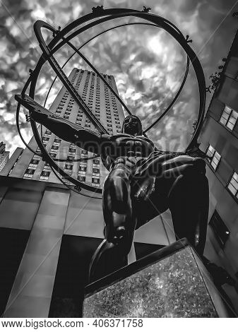 Low Side Angle View Of The Atlas Statue In Rockefeller Center. Created By Lee Lawrie In 1937. 2/3/20