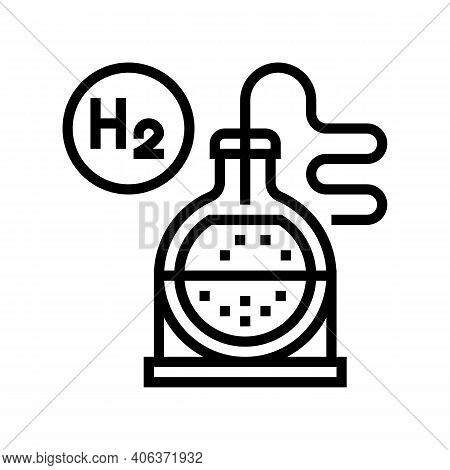 Use In Synthesis Hydrogen Line Icon Vector. Use In Synthesis Hydrogen Sign. Isolated Contour Symbol