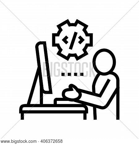 Programmer Coding And Development Line Icon Vector. Programmer Coding And Development Sign. Isolated