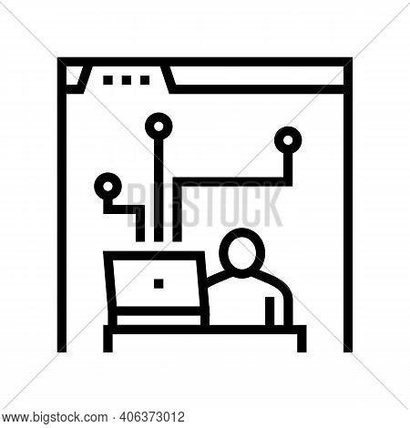 Developer Working And Codding Program Line Icon Vector. Developer Working And Codding Program Sign.