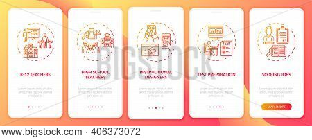 Online Teaching Jobs Types Onboarding Mobile App Page Screen With Concepts. Instructional Designers