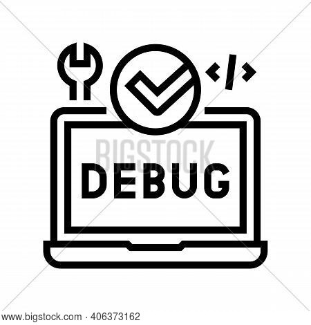 Laptop Debug Fixed Line Icon Vector. Laptop Debug Fixed Sign. Isolated Contour Symbol Black Illustra