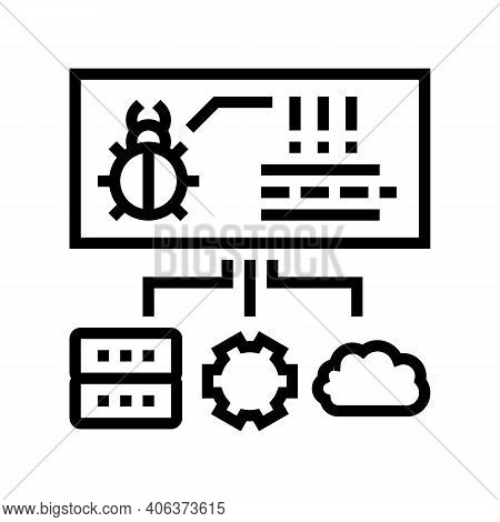 Virus On Server, Cloud And Computer Components Line Icon Vector. Virus On Server, Cloud And Computer