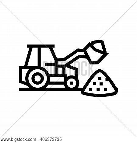 Tractor Stone Gravel Loading Machine Line Icon Vector. Tractor Stone Gravel Loading Machine Sign. Is
