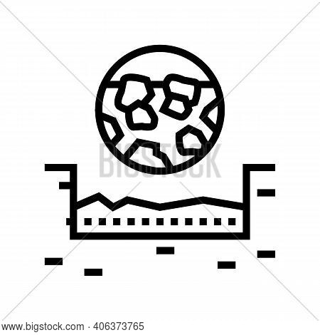 Gravel Stone Road Layer Line Icon Vector. Gravel Stone Road Layer Sign. Isolated Contour Symbol Blac