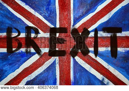 The Word Brexit With Brush Strokes On The British Flag Close Up