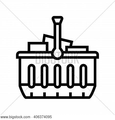 Basket With Purchases Line Icon Vector. Basket With Purchases Sign. Isolated Contour Symbol Black Il