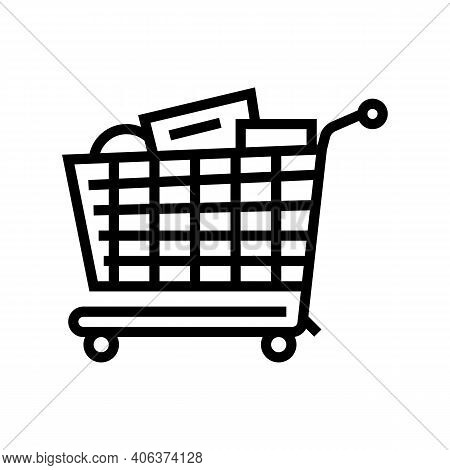 Shop Cart With Purchases Line Icon Vector. Shop Cart With Purchases Sign. Isolated Contour Symbol Bl