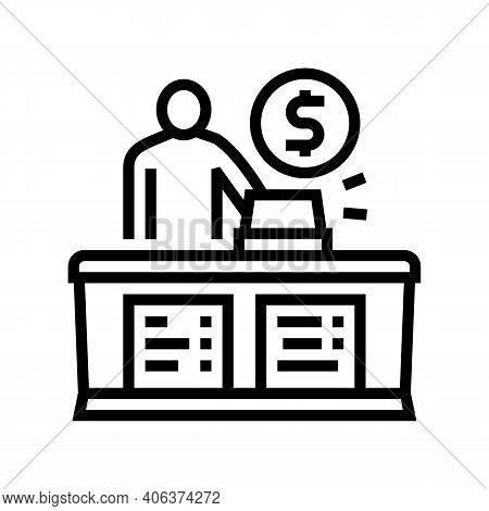 Cashier Seller At Counter Line Icon Vector. Cashier Seller At Counter Sign. Isolated Contour Symbol