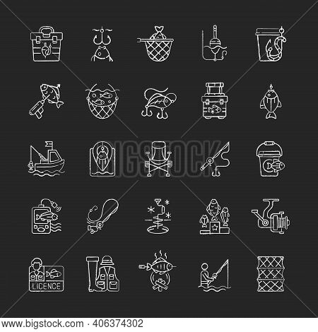 Fishing Equipment Chalk White Icons Set On Black Background. Fishing Lounger Chair. Cooking Freshly