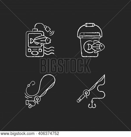Tools For Fishing Chalk White Icons Set On Black Background. Special Fishers Equipment. Hobby And Le