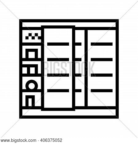 Fridge Food Shop Line Icon Vector. Fridge Food Shop Sign. Isolated Contour Symbol Black Illustration