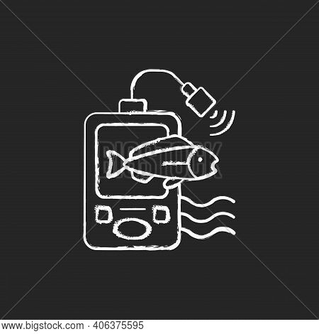 Fish Finder Chalk White Icon On Black Background. Fishers Equipment. Way To Find Fish. Efficient Fis