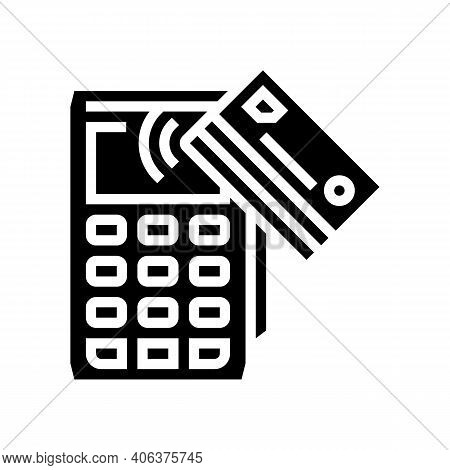Card Contactless Pay Post Terminal Device Glyph Icon Vector. Card Contactless Pay Post Terminal Devi