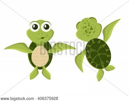 Collection Of Smiling And Cute Green Turtle Characters. Green Baby Turtle Set. Cute Funny Tortoise C