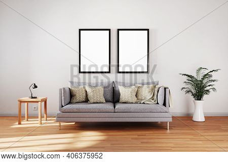 Minimalistic Elegant Living Room Interior Single Vintage Sofa In Front Of White Wall; Copy Space Whi
