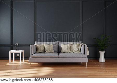 Minimalistic Elegant Living Room Interior With Single Vintage Sofa In Front Of Dark Grey Wall; Copy
