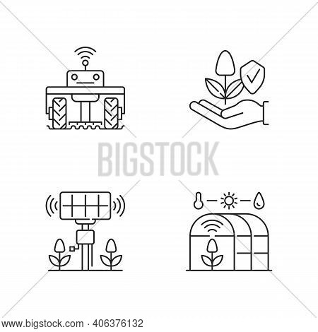 Smart Agriculture Linear Icons Set. Robotics In Farm. Digital Greenhouse. Agronomy Engineering. Cust