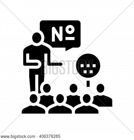 Players Playing In Lotto Glyph Icon Vector. Players Playing In Lotto Sign. Isolated Contour Symbol B