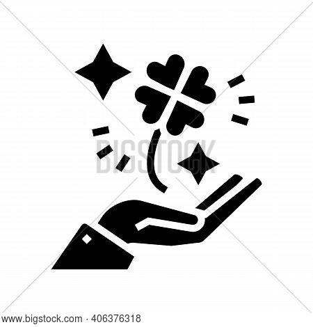 Clover For Luck Holding Hand Lotto Glyph Icon Vector. Clover For Luck Holding Hand Lotto Sign. Isola