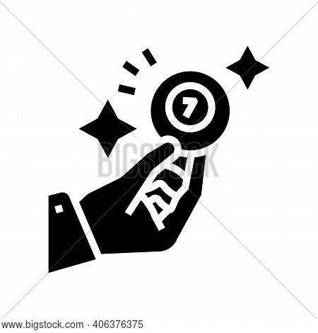 Hand Holding Lotto Ball With Won Number Glyph Icon Vector. Hand Holding Lotto Ball With Won Number S