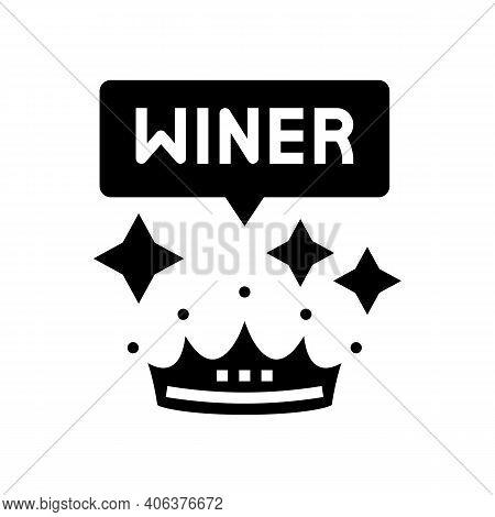 Winner Crown Lotto Glyph Icon Vector. Winner Crown Lotto Sign. Isolated Contour Symbol Black Illustr