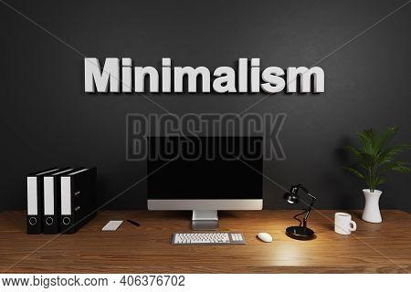 Modern Organized Tidy Clean Office Workspace Computer Screen And Dark Concrete Wall; Minimalism Lett