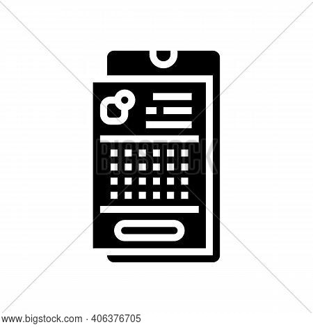 Phone Application Lotto Glyph Icon Vector. Phone Application Lotto Sign. Isolated Contour Symbol Bla