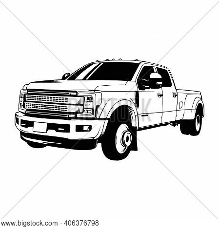 Pickup, Muscle Car, Stencil, Silhouette, Vector Clip Art - Truck 4x4 Off Road - Off-road Car For Tsh