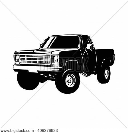 Pickup Lifted 1970, Muscle Car, Classic Car, Stencil, Silhouette, Vector Clip Art - Truck 4x4 Off Ro