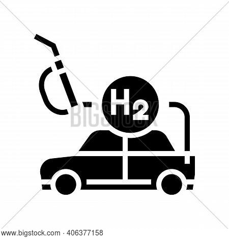 Refilling Car With Hydrogen Glyph Icon Vector. Refilling Car With Hydrogen Sign. Isolated Contour Sy